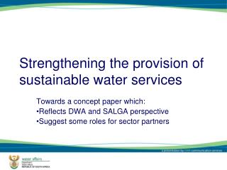 Strengthening the provision of sustainable water services