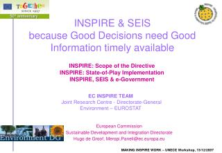 INSPIRE  SEIS because Good Decisions need Good Information timely available