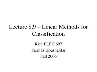 Lecture 8,9   Linear Methods for Classification