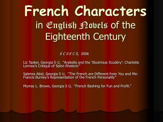 French Characters in English Novels of the Eighteenth Century