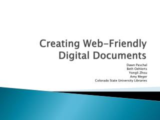 Creating Web-Friendly Digital Documents