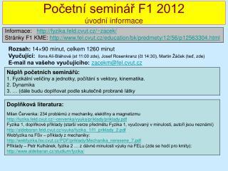 Pocetn  semin r F1 2012  vodn  informace