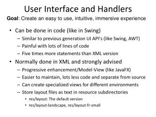 User Interface and Handlers