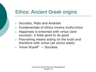 Ethics: Ancient Greek origins