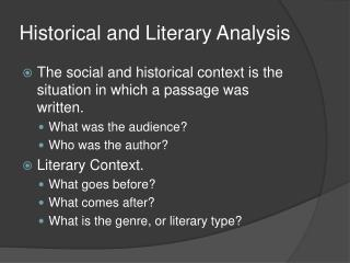 Historical and Literary Analysis