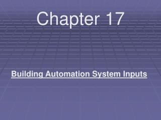 Building Automation System Inputs