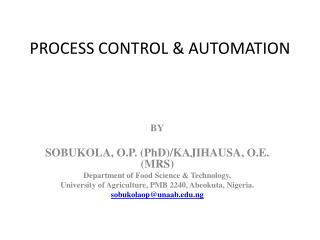 PROCESS CONTROL  AUTOMATION
