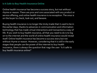 Is It Safe to Buy Health Insurance Online