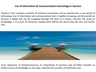 Use of Information & Communication technology in Tourism