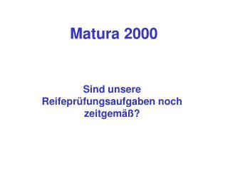 Matura 2000
