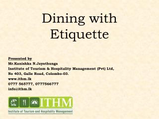 Dining with Etiquette
