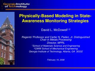 Physically-Based Modeling in State-Awareness Monitoring Strategies