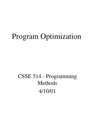 Program Optimization
