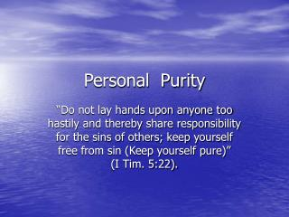 Personal  Purity