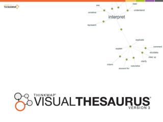 The Visual Thesaurus is:   an animated display of  words and meanings     a visual representation  of the English langua