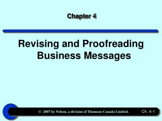 Revising and Proofreading Business Messages