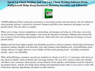 Speed Up Check Writing And Cut Cost