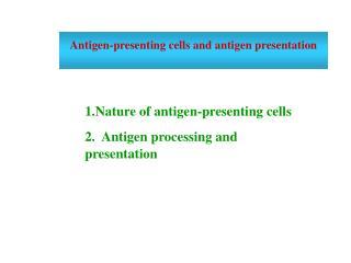 Antigen-presenting cells and antigen presentation