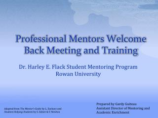 Professional Mentors Welcome Back Meeting and Training