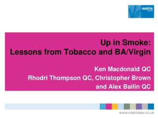 Up in Smoke: Lessons from Tobacco and BA