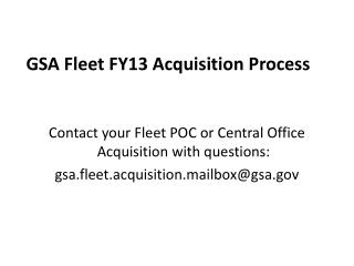 GSA Fleet FY13 Acquisition Process