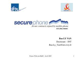 Bao LY VAN Doctorant   INT Bao.Ly_Vanint-evry.fr