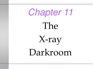 The X-ray Darkroom