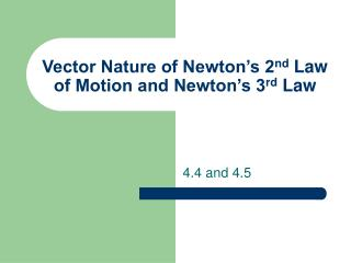 Vector Nature of Newton s 2nd Law of Motion and Newton s 3rd Law