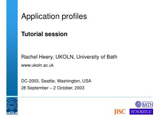 Application profiles   Tutorial session