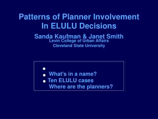 Patterns of Planner Involvement
