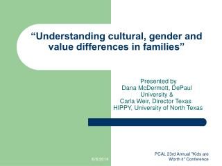 Understanding cultural, gender and value differences in families
