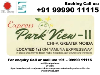 For Nimbus Park View 2 Fresh Booking @ 9999011115