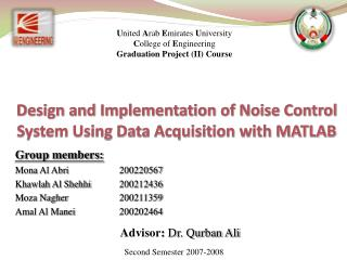 United Arab Emirates University College of Engineering Graduation Project II Course