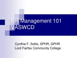 HR Management 101 VASWCD
