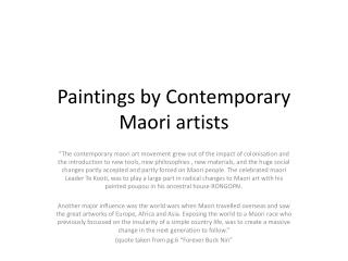 Paintings by Contemporary Maori artists