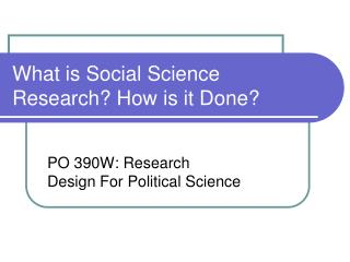 What is Social Science Research How is it Done