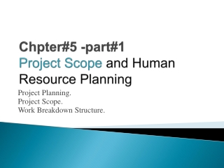 Chapter 6: Project Activity and Risk Planning
