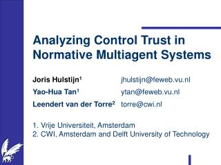 Analyzing Control Trust in Normative Multiagent Systems