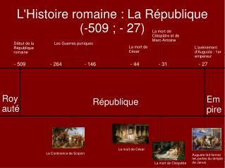 LHistoire romaine : La R publique -509 ; - 27