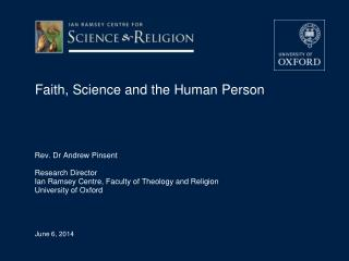 Faith, Science and the Human Person