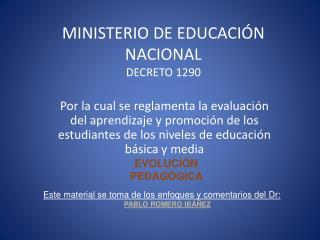 MINISTERIO DE EDUCACI N NACIONAL DECRETO 1290