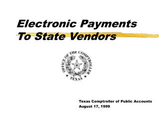 Electronic Payments To State Vendors