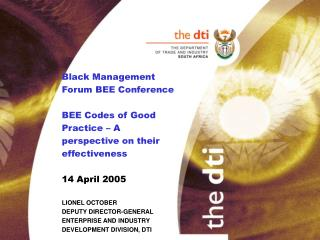 Black Management Forum BEE Conference  BEE Codes of Good Practice   A perspective on their effectiveness   14 April 2005