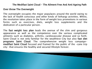 The Medifast Saint Cloud – The Ailment Free And Anti Ageing Path