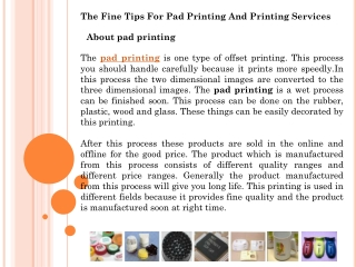 The Fine Tips For Pad Printing And Printing Services
