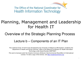 Component 18-Planning, Management and Leadership for Health IT