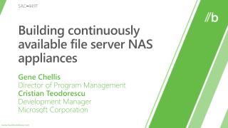 Building continuously available file server NAS appliances