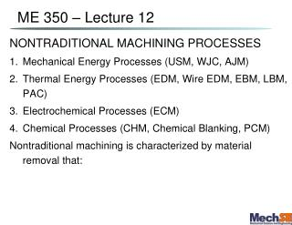 ME 350   Lecture 12