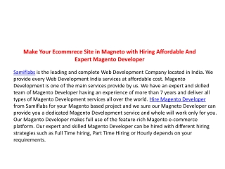 Make Your Ecommrece Site in Magneto with Hiring Affordable