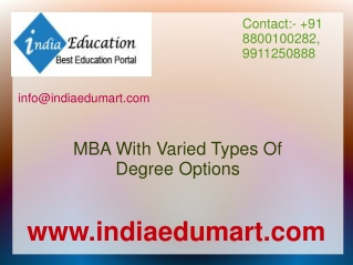 MBA With Varied Types Of Degree Options